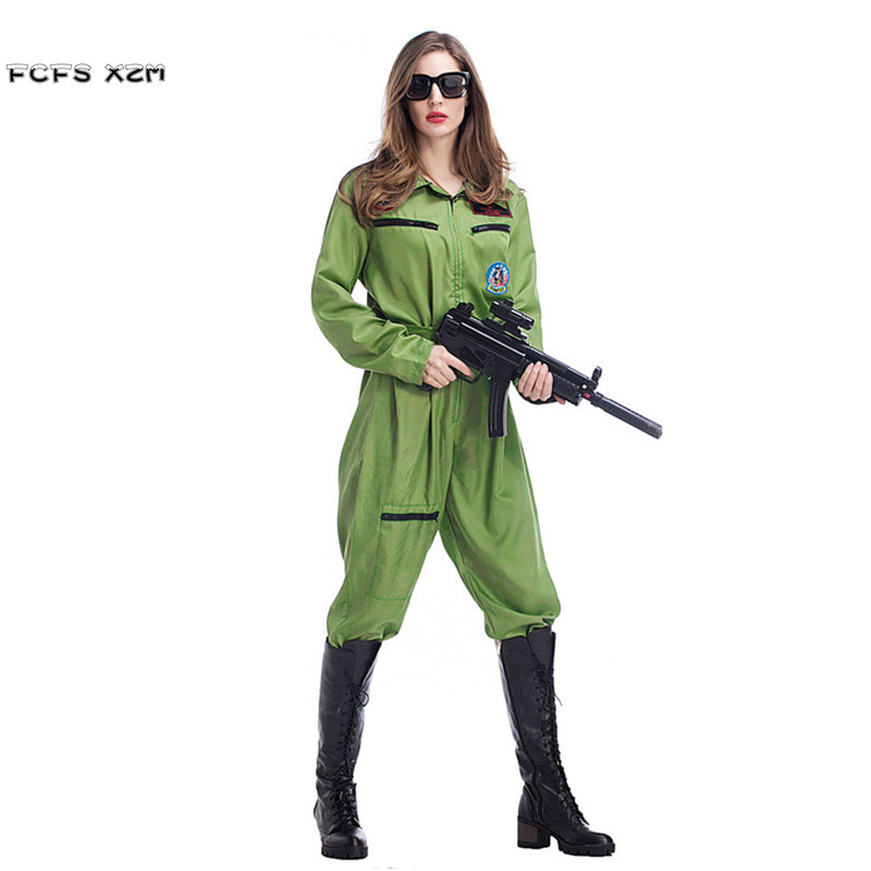 S-XL Women Halloween Special forces police Costume Female pilots Cosplay Army SWAT Jumpsuit uniforms Travel adventure suit dress