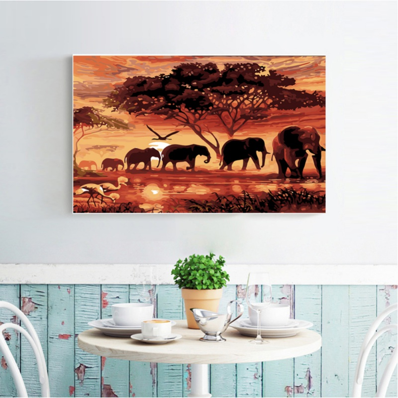 Elephants In The Sunset 5D Diamond Painting Full Diamond Covered Canvas DIY By Number Kits For Home Bedroom Decor <font><b>30</b></font> X <font><b>40</b></font> Cm image