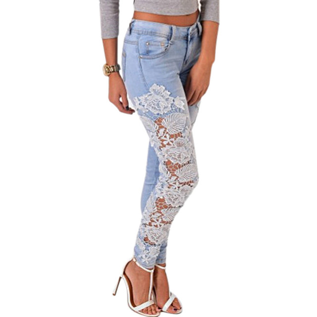 Feitong Jeans Woman Long Lace Floral Skinny Spliced Hollow out Hole Straight Denim Women Jeans A2032
