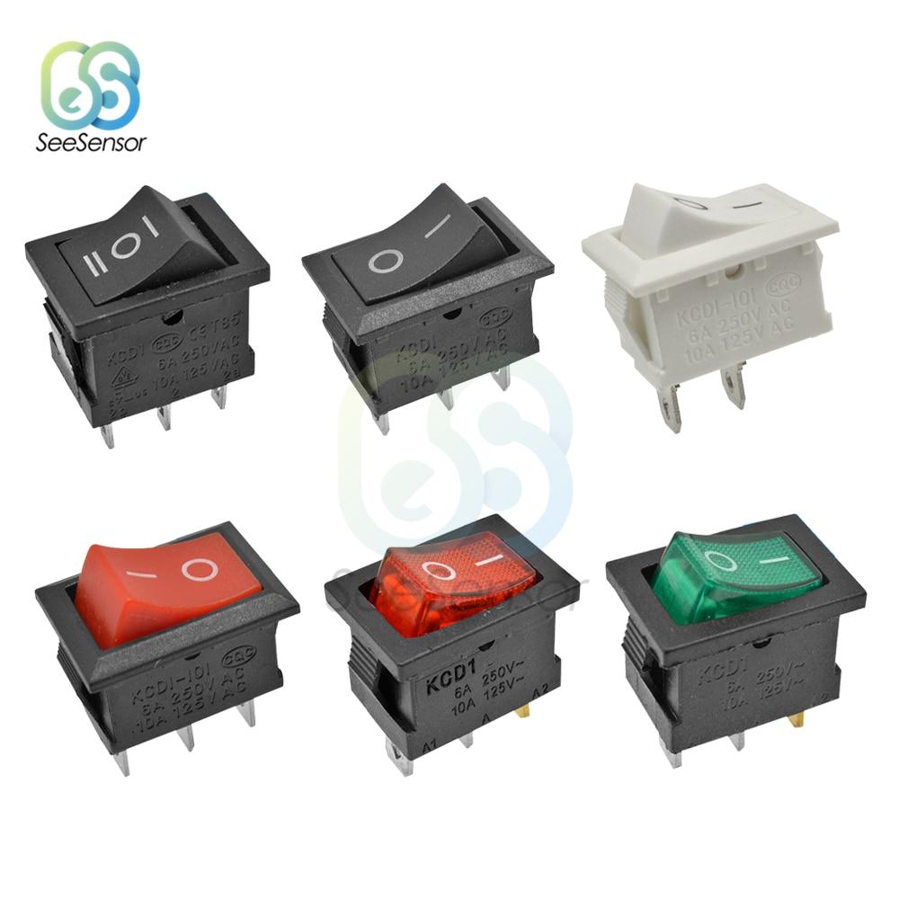 5Pcs/lot KCD1 Rocker Switch Power Switch ON-OFF 2 Position ON-OFF-ON 3 Position 2Pins 3Pins 4Pins 6Pins 6A 250VAC/ 10A 125VAC