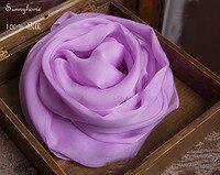 Small Silk Square Scarves Women 100% burdery Chiffon Purple Blanket scarfs Winter Women's soft thin shawls Summer Beach Wrap