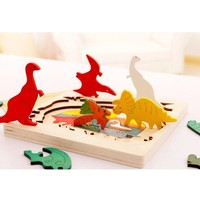 Children S Young Children S Multilayer Jigsaw Early Education Puzzle Wooden 3D Mosaic Cartoon Animals