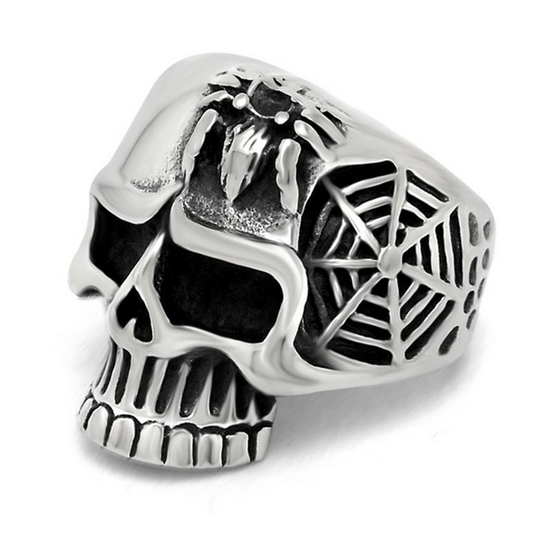 Men's <font><b>Spiderman</b></font> <font><b>Ring</b></font> Personalty Handmade 316L Stainless Steel Jewelry,3D Skull Cobweb and Spider Relief Men <font><b>Ring</b></font>