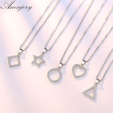 Anenjery 5 Modle 925 Sterling Silver Crystal Zircon Star Heart Circle Square Pendant Necklace For Women Match 45cm Box Chain(China)