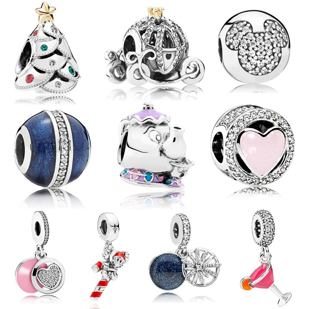Ranqin Original Charm Girl Personality Bead Pendant Necklace DIY Suitable For Pandora Bracelet Europe Jewelry Pink Flamingo(China)