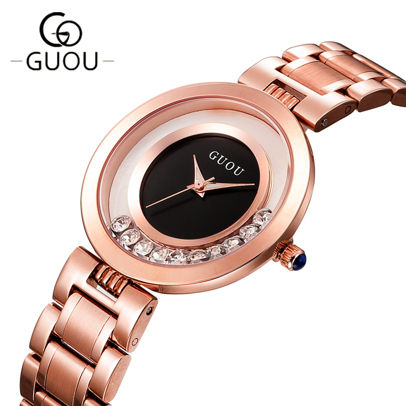 New Brand Relogio Feminino Women Clock Female Stainless Steel Watch Ladies Fashion Casual Watch Quartz Wrist Women Watches GO01 new famous dqg brand quartz watch women sports gold stainless steel watches relogio feminino clock casual wristwatches hot sale