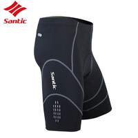 Santic Cycling Padded Shorts Summer Soft Thin Breathable Cycling Tights Quick Dry Men MTB Short Pants Black Anti-pilling S - 3XL
