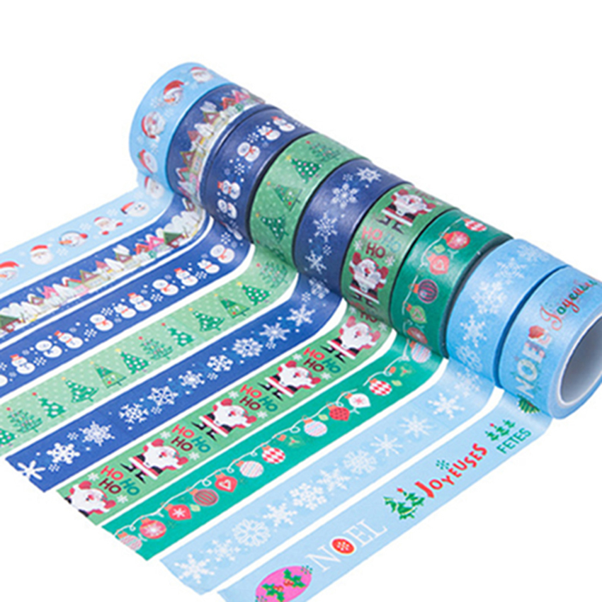 Many Styles New Arrival Christmas Santa Claus Snowman Decorative Washi Tape Single Sided Paper Masking Tape Adhesive Paper Tape