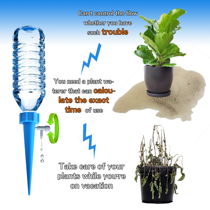 4Pcs/set Plant Self Watering Adjustable Irrigation Stakes System Vacation Waterer Automatic Spikes Device