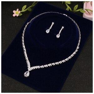 Image 2 - Beidal Anhänger Schmuck Sets Zirkonia Hochzeit Halskette und Ohrringe Luxus Kristall Braut Schmuck Sets Für Brautjungfern