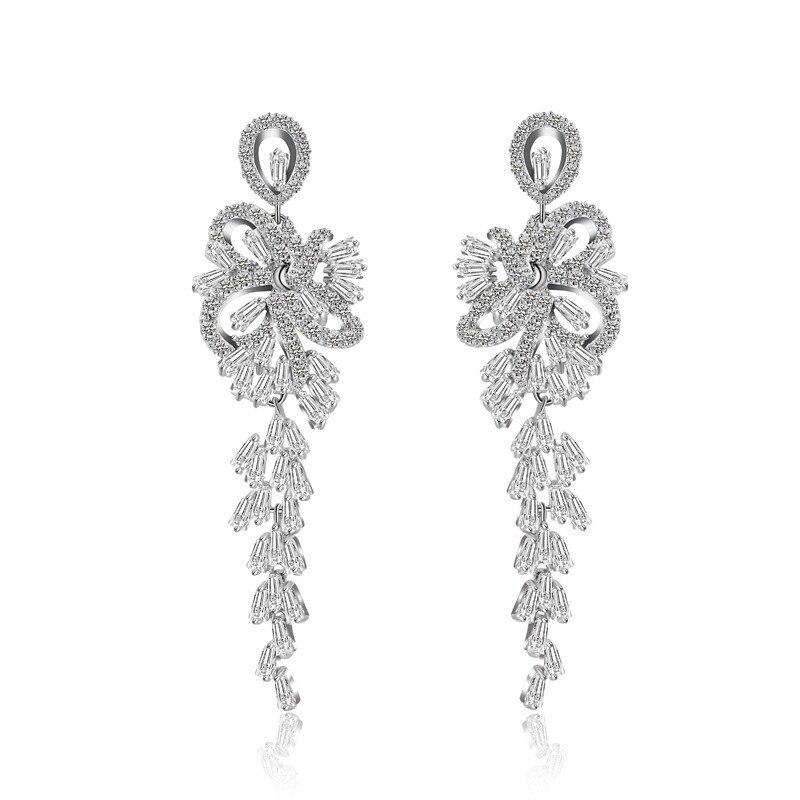 Luxuoso romântico cz longo pendurado lustre brincos para nupcial mariage festa de casamento jóias cor prateada