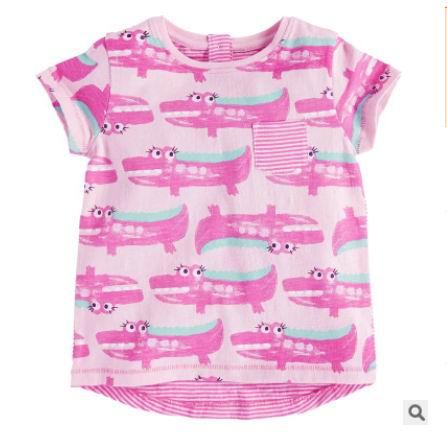 2016 Summer New Girl T-shirts Children crocodile Print Pink Cartoon Cotton Fashion Short Sleeve T-shirts 1-6T 50200