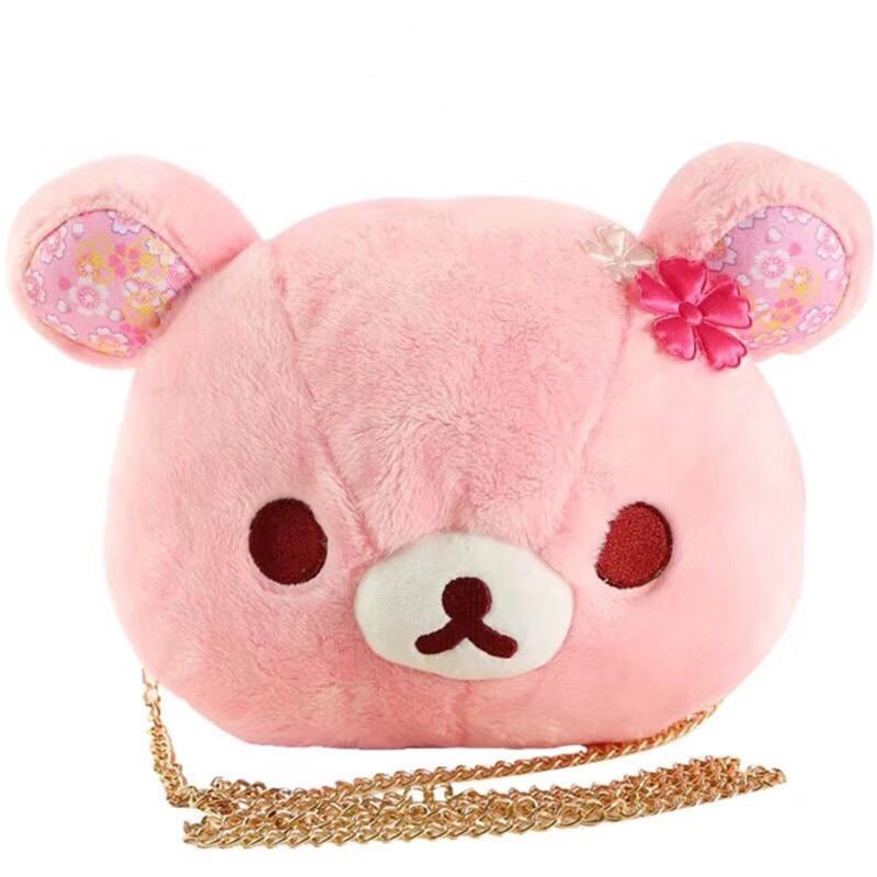 Cute Sakura Pink Bear Plush toy Dolls Rilakkuma Bears Soft Stuffed Animals Handbag Baby Kids Shoulder bags Girls Birthday Gifts