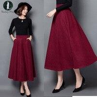 2018 Lady Jupe Elegant Autumn Winter A line Skirt Femininos Saias High Waist Women Long Warm Women Skirt Woolen Feminina