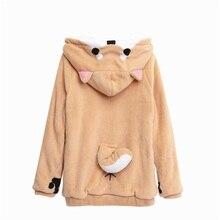 柴犬 Doge かわいい素敵なベルベット長袖のフード付きぬいぐるみコート漫画アニメスタイル暖かい女性冬のスウェットシャツクリスマス