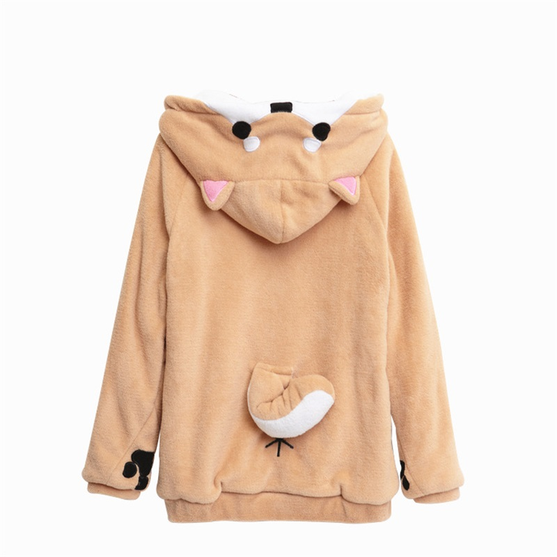 Shiba Inu Doge Kawaii lovely Velvet Long sleeved Hooded Plush Coat Cartoon Anime Style Warm lady
