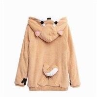 Shiba Inu Doge Kawaii lovely Velvet Long sleeved Hooded Plush Coat Cartoon Anime Style Warm lady Winter Sweatshirt Christmas