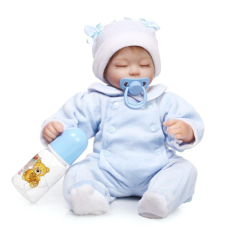 Vivid Baby Reborn Silicone Dolls for Children's Gift,Lifelike Baby Sleeping Doll with Clothes,Realistic Reborn Doll 37 CM short curl hair lifelike reborn toddler dolls with 20inch baby doll clothes hot welcome lifelike baby dolls for children as gift