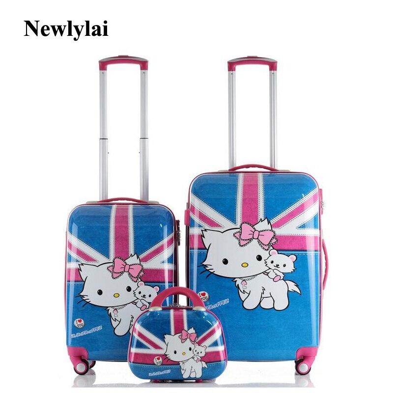 12/24 inches ABS + PC luggahe cat design box Fashion new universal wheel luggage pull rod box JJ170062