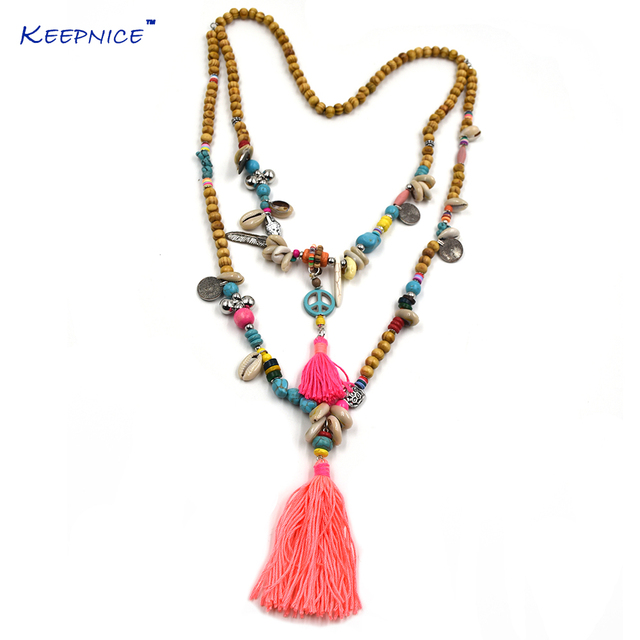New clothing accessories bohemian ethnic wood beaded tassel long new clothing accessories bohemian ethnic wood beaded tassel long necklace colorful long fringes peace sign pendants audiocablefo