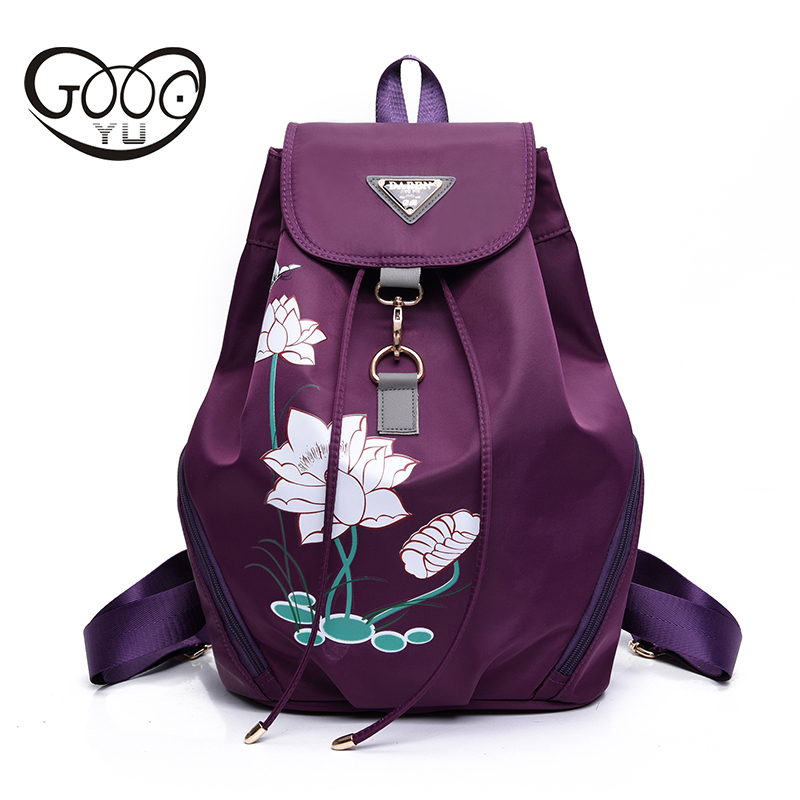 new paragraph with embroidered women s shoulder bags lotus nylon material backpack Ribbon decoration multi functional