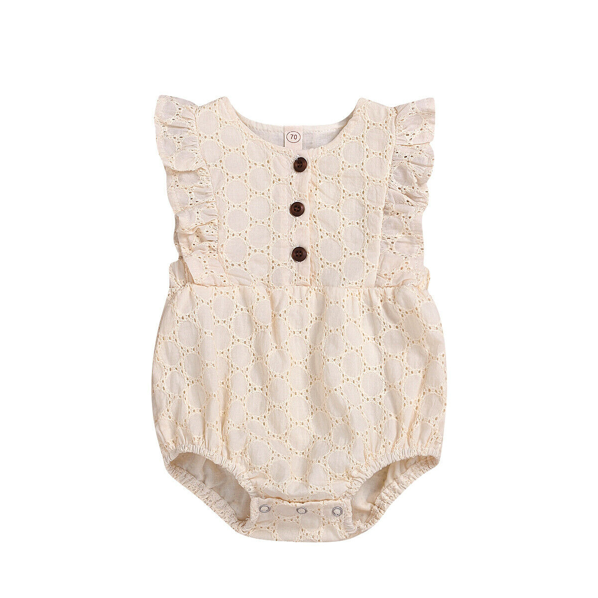 Newborn Baby Kids Girls Cotton Solid Lace Sleeveless Button Jumpsuit Bodysuit Cute Summer Clothes Outfits
