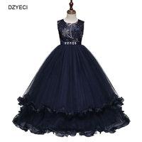 DZYECI Eleghant Wedding Dress For Teen Girl Ceremony Kid Embroidery Bow Deguisement Child Maxi Communion Frock Up Long 10 12
