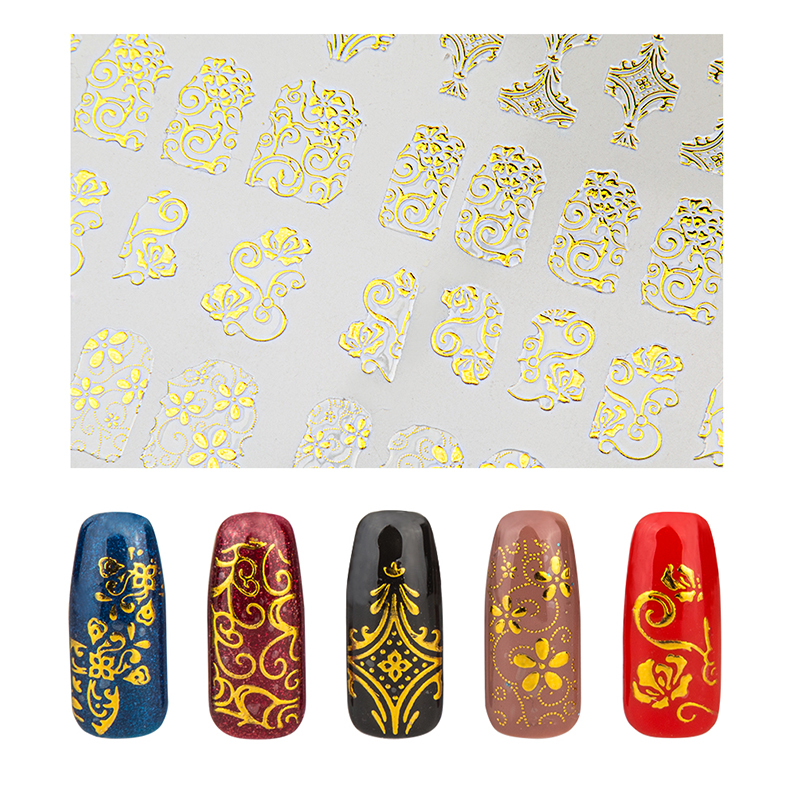 1 Sheet Lace Flower 3D Nail Sticker Decals Gold Black Purple Silver Gel Polish DIY Nail Art Decoration Tool without Adhesive qt beauty 1 bag gold silver glass 3d nail art decoration gel nail polish nails accessories mini round balls caviar beads