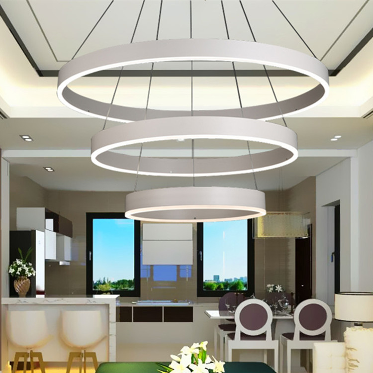 New Modern Pendant Lights For Living Room Dining Room 3/2/1 Circle Rings Aluminum acrylic LED Lighting ceiling Lamp fixtures modern pendant lights for living room dining room dimming circle rings oval aluminum body led lighting ceiling lamp fixtures