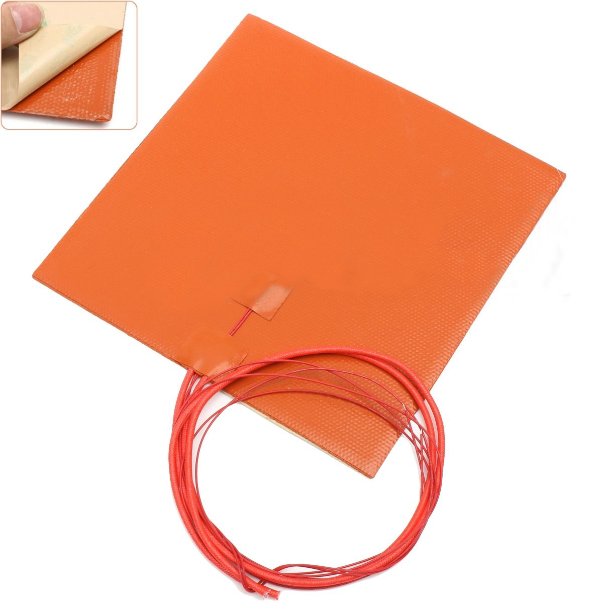 Mayitr Durable 200W 12V Silicone Heater Pad For 3D Printer Heated Bed Thermal Conversion Heating Mat With Lead Wire 200*200mm 150x150mm 150w 12v silicone heater pad for 3d printer heated bed 3m psa ntc100k silicone heating element pad mat flexible heater
