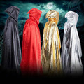 Adult Witch Long Cloak Gown Hooded Cloaks Cape Halloween Costumes for Women Men 150cm Witch Cloak Multicolor Available