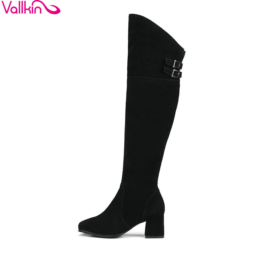 VALLKIN 2018 Women Boots Square Toe Short Plush Western Style High Heels Knee-high Boots Spring Autumn Ladies Boots Size 34-39 vallkin 2018 women boots elegant pointed toe square high heels ankle boots short plush pu lining black ladies boots size 34 42