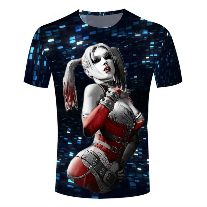 Harley Queen 3D Printed T-shirts Unisex Summer Shirt Tees Hip Hop Fashion Short Sleeve Tops Cool Bling Clothing Camisetas 5XL