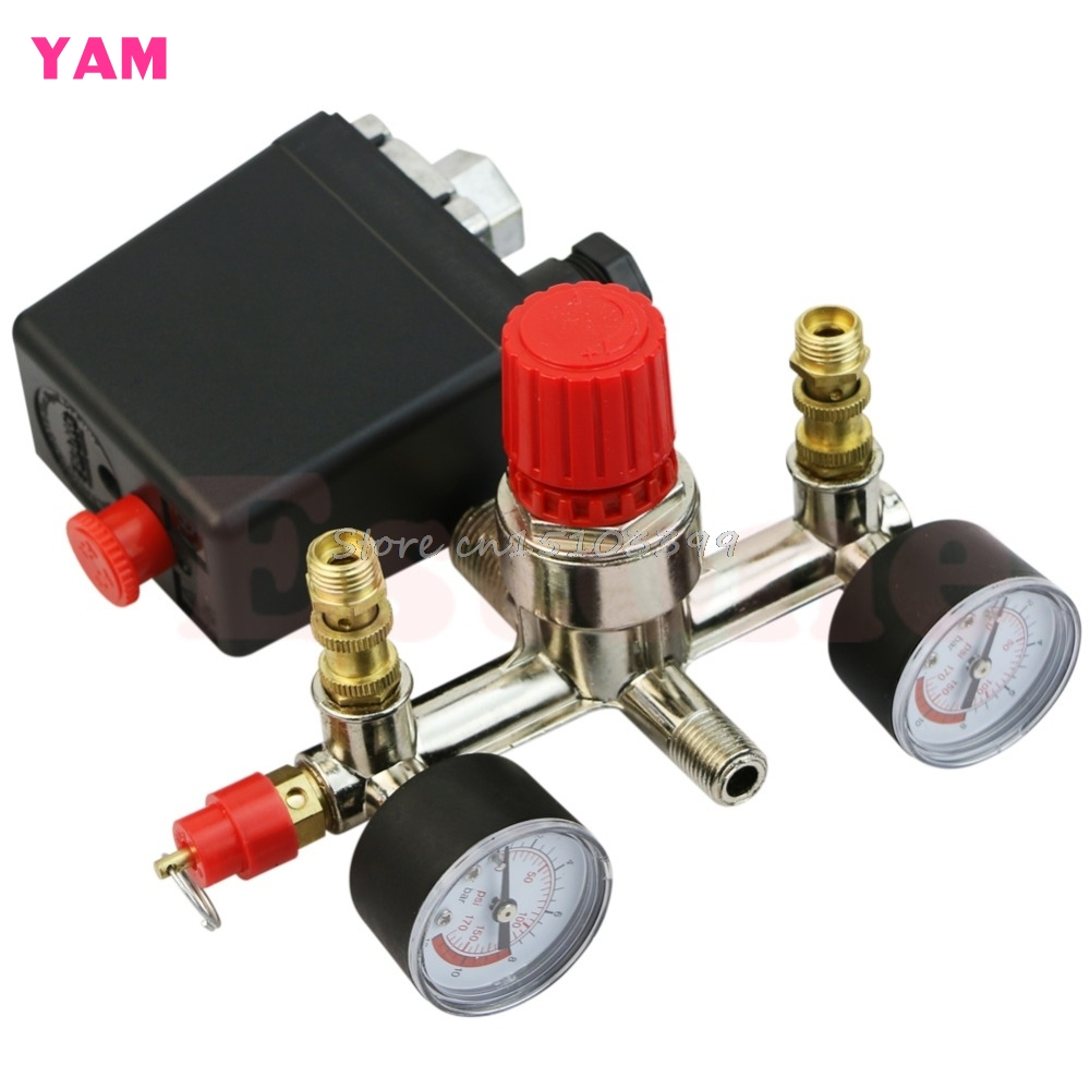 Heavy Duty Valve Gauges Regulator Air Compressor Pump Pressure Control Switch #H028# heavy duty air compressor pressure control switch valve 90 120psi 12 bar 20a ac220v 4 port 12 5 x 8 x 5cm promotion price