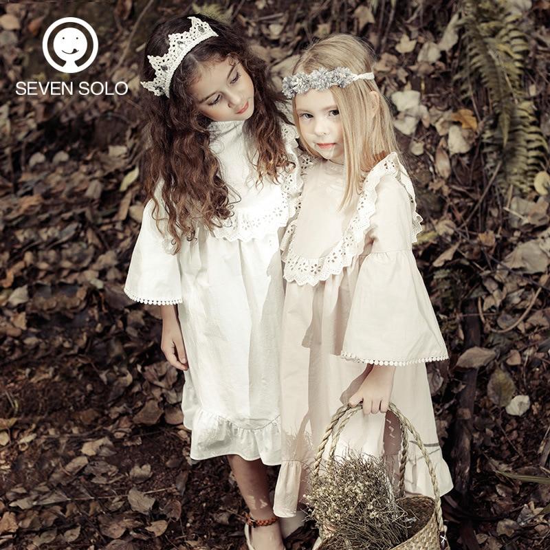 ФОТО SEVEN SOLO DESIGNER ORIGINAL 100%Cotton Girls Dress Ruffles Infantil Girls Lace Comfortable Dress BREATHABLE Cotton Clothes Soft
