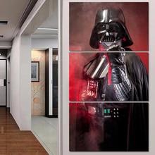 Купить с кэшбэком Tableau Wall Art Pictures Canvas 3 Panel Movie Star Wars Black Knight Home Decor Modern HD Printed Paintings Modular Posters