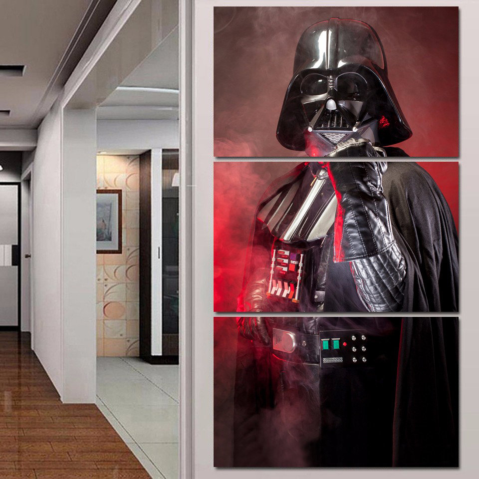 Tableau Wall Art Pictures Canvas 3 Panel Movie Star Wars Black Knight Home Decor Modern HD Printed Paintings Modular Posters image