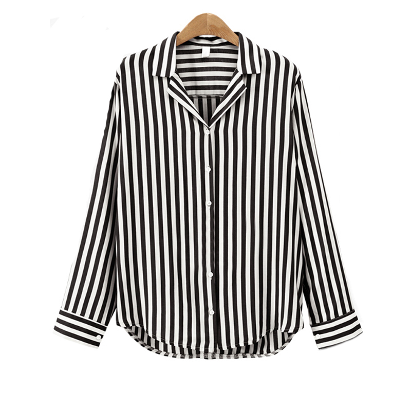 29657bad192 Red Black Striped Blouse for Business 2018 New Autumn Winter Women Blouse  Flower V-Neck Long Sleeve Work Shirts Women Office Top