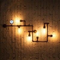 New Wroguht Iron Water Pipe Wall Lamp Vintage Aisle Lights Loft Iron Wall Lamp Edison Incandescent