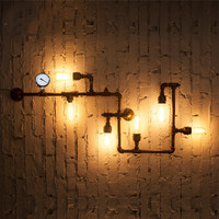 New Wroguht Iron Water Pipe Wall Lamp Vintage Aisle Lights Loft Iron Wall Lamp Edison Incandescent
