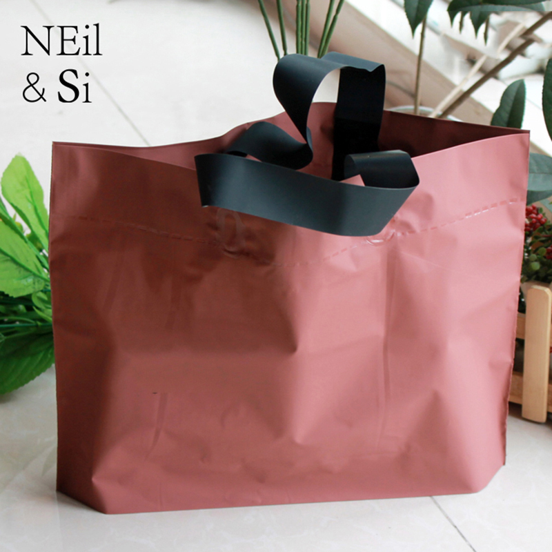 Plastic Handle Gift Bag Garmant Clothes Shopping Store Use Shopping Wedding Party Favor Package Bags Multi colors