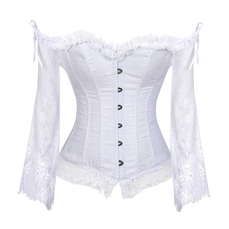 Women Bustiers Black White Color Corset Gothic Corsets Bustiers Short Lace Lolita Style Waist Trainer Corset Mujer 8125