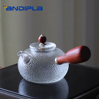 370ml Japanese style Creative Pure Wooden Handle Heat Resistant Clear Glass Teapot Boiled Tea Kettle Unique Texture Coffee Pot