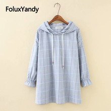 Hooded Blouses Femme Chemise Casual Plaid Plus Size Loose Long Sleeve Blouse Shirt Blusa KKFY3172