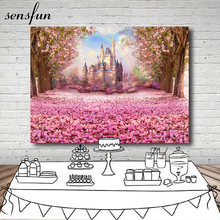 Sensfun Fairy Tale Vinyl Photography Background Pink Flower Castle Newborn Children Birthday Party Backdrops For Photo Studio