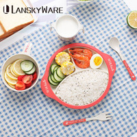 LANSKYWARE Cute Cartoon Kids Dinnerware Set Eco Friendly Bamboo Dinner Set For Children Bowl Fork Tableware Kitchen Accessories