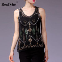 RealShe 2017 Winter Sexy Sequins Pearls Basic T Shirts Tank Top Hollow Out Sexy Sleeveless Casual