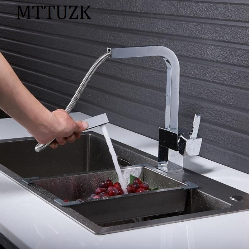 MTTUZK New chrome pull out kitchen faucet square brass kitchen mixer sink faucet mixer kitchen faucets pull out kitchen tap new chrome pull out kitchen faucet square brass kitchen mixer sink faucet mixer kitchen faucets pull out kitchen tap mj5555