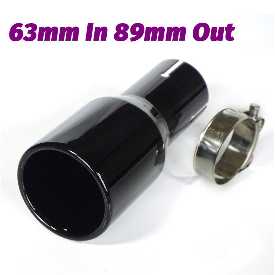 1 PC noir tuyau d'échappement de voiture tuyau de queue pleine cuisson peinture buse de silencieux en acier inoxydable 2.5