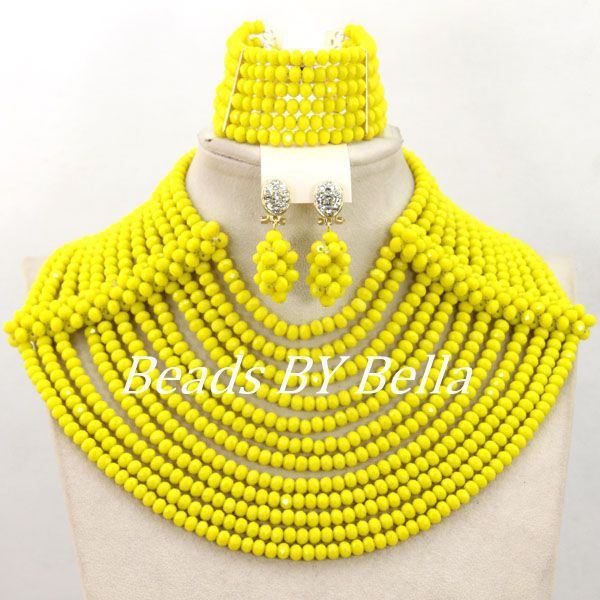 Special Gift Sets Yellow Crystal Beads Necklace Indian Wedding Bridal Jewelry Set African Beads Jewelry Set Free Shipping ABY969Special Gift Sets Yellow Crystal Beads Necklace Indian Wedding Bridal Jewelry Set African Beads Jewelry Set Free Shipping ABY969